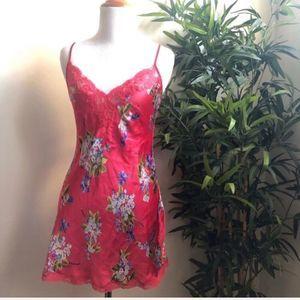 Victoria Secret 100% Silk Floral/Lace Chemise | XS